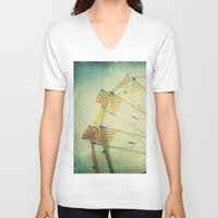 ferris wheel V-neck T-shirts featuring Ferris Wheel by Honey Malek