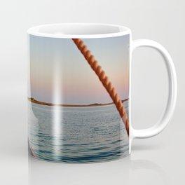 Sailing Towards Lighthouse at Sunset Coffee Mug