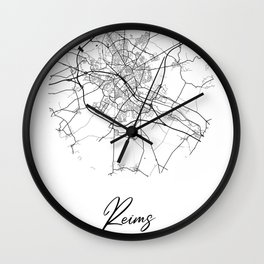 Reims Area City Map, Reims Circle City Maps Print, Reims Black Water City Maps Wall Clock