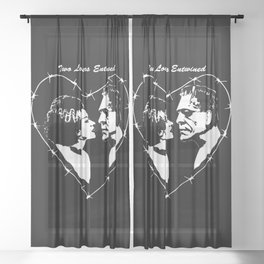 MAKE THIS OCTOBER AND HALLOWEEN A SCREAM WITH 2 LOVERS ENTWINED Sheer Curtain