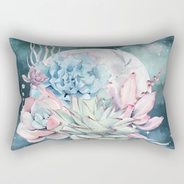 Beautiful Succulents Full Moon Teal Pink Rectangular Pillow