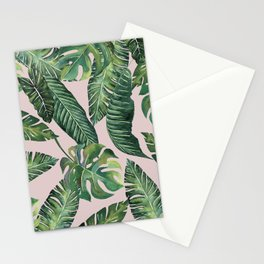 Jungle Leaves, Banana, Monstera Pink #society6 Stationery Cards