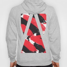 Modern Abstract Black Red Brush Strokes Pattern Hoody