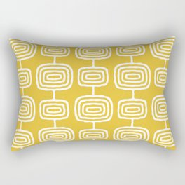 Mid Century Modern Atomic Rings Pattern Mustard Yellow Rectangular Pillow