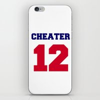 patriots iPhone & iPod Skins featuring Tom Brady Cheater  by All Surfaces Design
