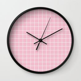 Orchid pink - pink color - White Lines Grid Pattern Wall Clock