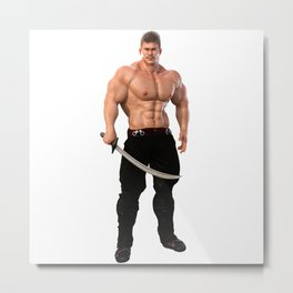 Male Warrior with sword Metal Print