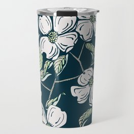 Dogwod Floral on Blue Grey Travel Mug