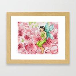 Pink Bookworm Faerie Framed Art Print