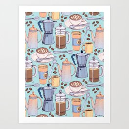 Coffee Love on Blue Art Print