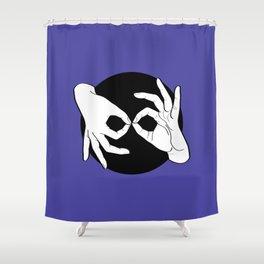 Sign Language (ASL) Interpreter – White on Black 02 Shower Curtain