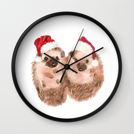 Christmas Twin Hedgehog Wall Clock
