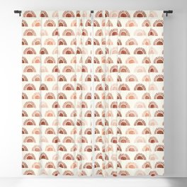 block print suns - terra cotta neutrals Blackout Curtain
