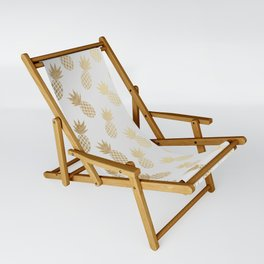 Gold Pineapple Pattern Sling Chair