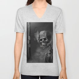 Noir Skeleton Digital Illustration Unisex V-Neck