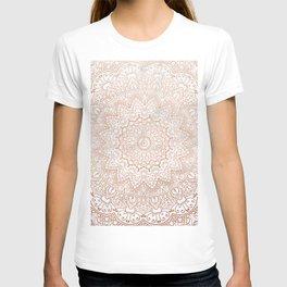 Mandala - rose gold and white marble 3 T-shirt