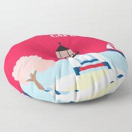 Cape Cod, Massachusetts - Skyline Illustration by Loose Petals Floor Pillow