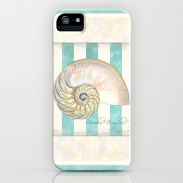 Greek Key Nautilus Seashell Botanical Shell w Striped Pattern iPhone Case