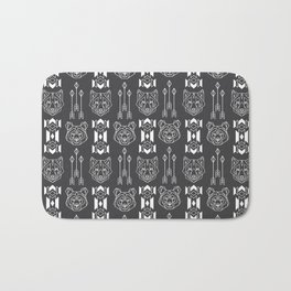 Line style print with wolf and bear totems and native americans culture stylized elemets Bath Mat