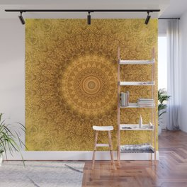 Sunflower Feather Bohemian Sun Ray Pattern \\ Aesthetic Vintage \\ Yellow Orange Color Scheme Wall Mural