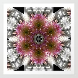Floral Abstract Pretty In Pink and Silver Art Print