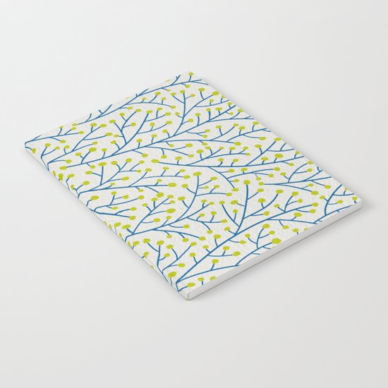 Berry Branches - Lime & Blue Notebook