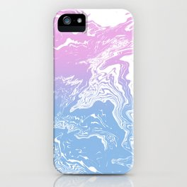 Suminagashi marble pastel pink and blue minimal watercolor spilled ink swirl iPhone Case