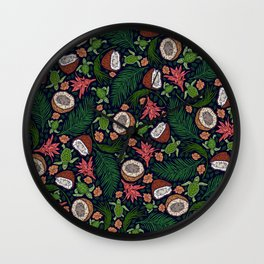Tropical: Sea Turtles and Coconut Pattern Wall Clock