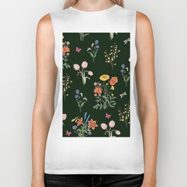 VINTAGE STYLE COLORFUL SUMMER BOUQUETS AND INSECTS Biker Tank