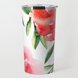 Bright Flowers with Green Leaves Travel Mug