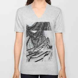 Double Drapery Drawing Unisex V-Neck
