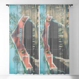 West Entrance of Honeymoon Bridge Jackson New Hampshire Covered Bridge  Sheer Curtain