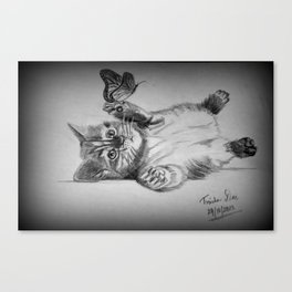 Kitten catching the butterfly Canvas Print