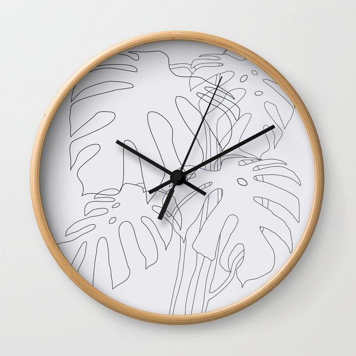 Monstera Illustration Wall Clock
