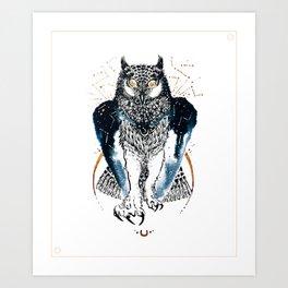 Cosmic Ink Owl Art Print