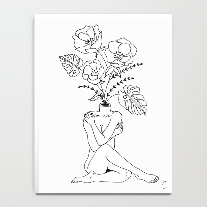 Female Form in Bloom Floral Design Notebook
