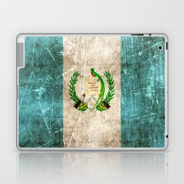Vintage Aged and Scratched Guatemalan Flag Laptop & iPad Skin