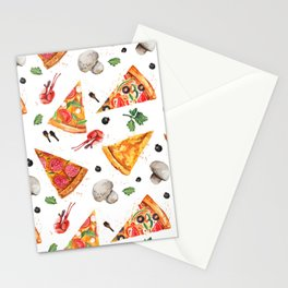 Pizza Pattern, Food Pattern, Watercolor Pizza Stationery Cards