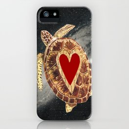 space turtle in love iPhone Case