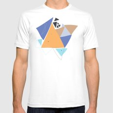 Exploding Triangles//One White Mens Fitted Tee SMALL
