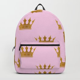 Princess Charlotte Rose Pink with Gold Crowns Backpack
