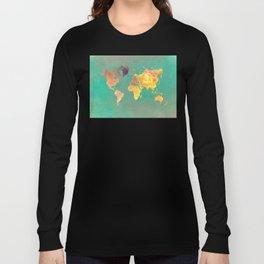 world map 103 #worldmap #map Long Sleeve T-shirt