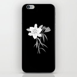 Monochrome Lilies Illustrative Art iPhone Skin