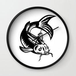 Koi Nishikigoi Carp Fish Woodcut Wall Clock