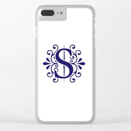 Monogram Letter S in Blue with Border Clear iPhone Case