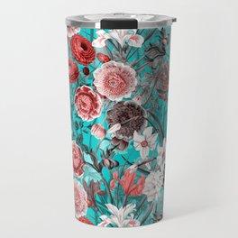 Vintage & Shabby Chic - Rose Blush & Teal Garden Flowers Travel Mug
