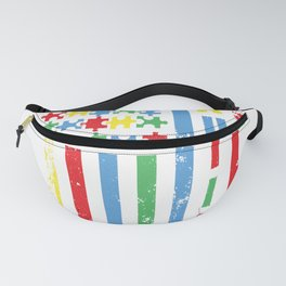 Colorful Puzzle Pieces American Flag Autism Awareness Fanny Pack