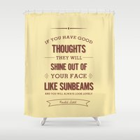 roald dahl Shower Curtains featuring Roald Dahl quote - cream by Dickens ink.