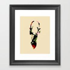Flower Deer Silhouette Framed Art Print