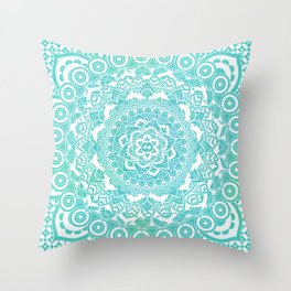 Sea Green Ombre, Indian Mandala Pattern Throw Pillow